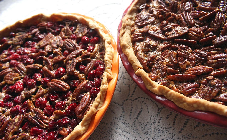 Pecan and Pecan Cranberry Pies